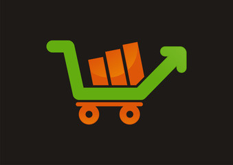 Shopping cart up arrow logo vector