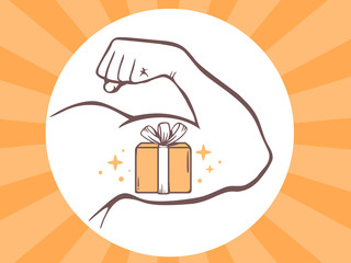 Vector illustration of strong man hand with  icon of gift box on