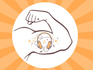 Vector illustration of strong man hand with  icon of headphones