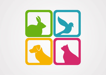 Pet animal isolated colorfull logo vector