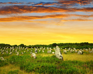 Megalithic monuments menhirs in Carnac,Brittany, France