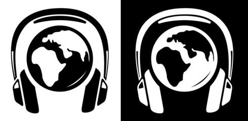 Globe with headphones icon