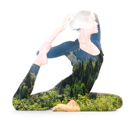 Double exposure portrait of woman performing yoga