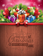 Engraved Merry Christmas and Happy New Year design