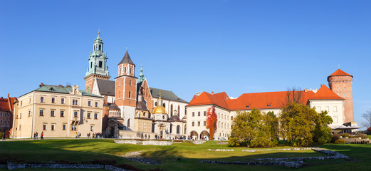Panoramic view of Royal Wawel Castle in Krakow