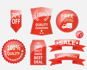 Red Label,Ribbon and Badge for Quality Guaranteed  Vector