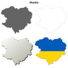 Kharkiv blank outline map set