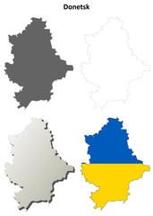 Donetsk blank outline map set - Ukrainian version