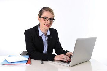 attractive businesswoman working happy in work success concept