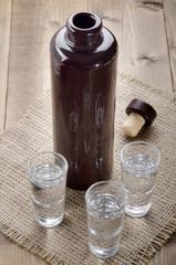 juniper brandy in small glasses