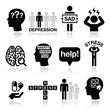 Depression, stress icons set - mental health concept - 73359244
