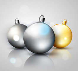 Silver and gold decoration Christmas balls