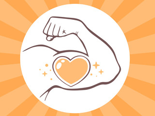 Vector illustration of strong man hand with  icon of heart on br