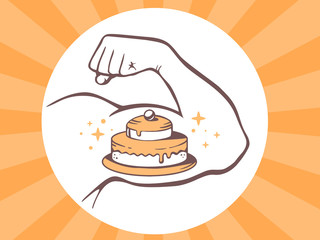 Vector illustration of strong man hand with  icon of cake on bri