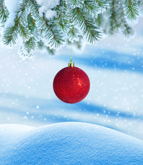Winter background with Christmas ball