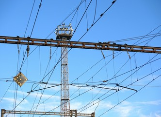 Train station metal tower, constructions and wires