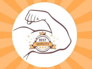 Vector illustration of strong man hand with  icon of best qualit