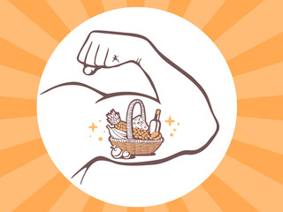 Vector illustration of strong man hand with  icon of basket with