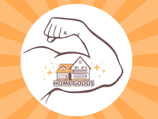 Vector illustration of strong man hand with  icon of home goods