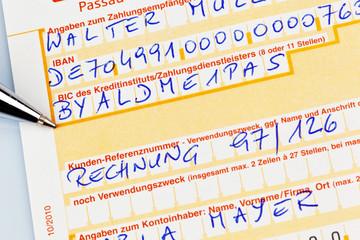 Zahlschein mit IBAN Nummer