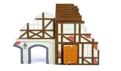ruined house in scale model