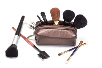 Makeup case with brushes