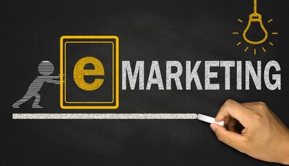 e marketing  concept on blackboard