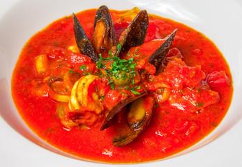 Close up seafood soup
