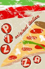 pizza menu, free copy space, vector illustration