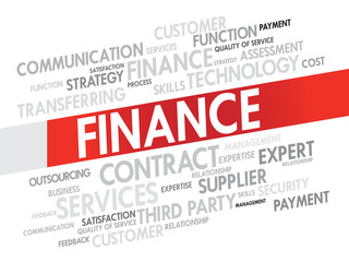 Word cloud of FINANCE related items, presentation background