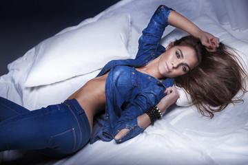 Attractive brunette woman posing