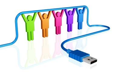 USB-Stecker und starkes Team - Hilfe beim Anschluss