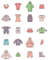 Baby clothes icon set