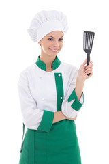 young woman in green chef uniform isolated on white