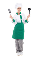 woman in green chef uniform - full length isolated on white