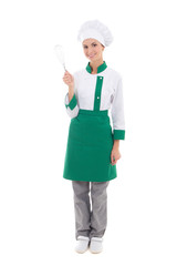 happy woman in chef uniform with corolla - full length isolated