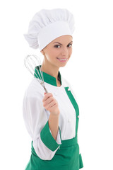 young happy woman in chef uniform with corolla isolated on white