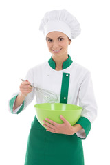 young happy woman in chef uniform with corolla and bowl isolated