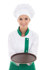 young chef woman in uniform showing empty plate isolated on whit