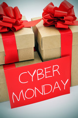 gifts and text cyber monday in a signboard