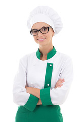 portrait of woman chef in uniform isolated on white