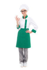 young beautiful woman chef showing ok sign - full length isolate