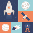 Vector space icons in flat style