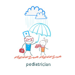 pediatrician holding an umbrella over the child in the rain