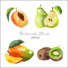 peach, pear, kiwi, Mango