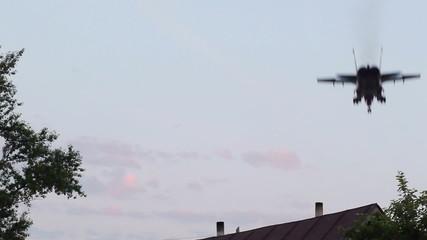 Shot of landing military aircraft