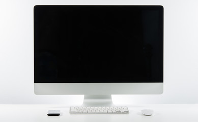 Business place of work with with computer monitor keyboard and m
