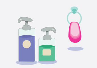 liquid soap, shampoo and towel. vector illustration