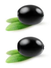 Black olives isolated on white