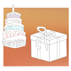 Colored cake and gift box with ribbon for new  year, Christmas